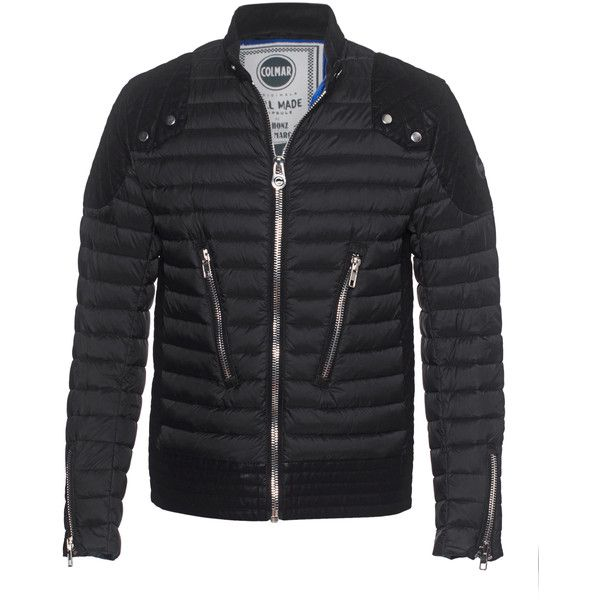 Colmar Originals Honor Down Black // Down jacket in biker style (515 CAD) ❤ liked on Polyvore featuring men's fashion, men's clothing, men's outerwear, men's jackets, mens biker jacket, mens slim fit biker jacket, mens zip up jacket, mens slim fit jacket and mens slim jacket
