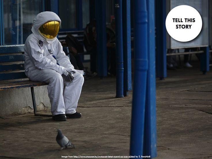 Aww, sad astronaut.  Writing prompt: Tell this story.  lonely astronaut  (image: Z. Bonyhádi)