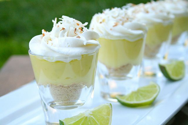 Coconut Lime Dessert Shots. Looks easy and the author says they're delicious...