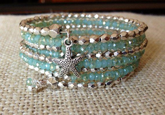 Summer Starfish Memory Wire Wrap Bracelet  by McHughCreations