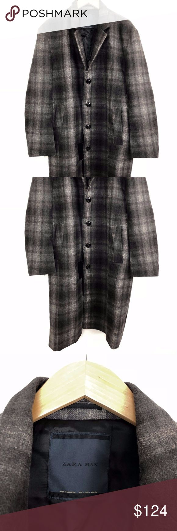 """Zara Trench Coat NWT $229 Wool Jacket Blazer Plaid Zara Men's Coat Size Large Plaid Wool Trench Classic Long Jacket  Condition: New with tags Fabric: Wool Pattern: Plaid & Checks Pockets  Approximate measurements taken flat: Chest (underarm to underarm): 26.5""""  Length (shoulder to hem): 46"""" Sleeve length (underarm to cuff): 15""""  This Zara wool trench coat is a classic staple that easily transitions to many seasons. Zara Jackets & Coats Trench Coats"""