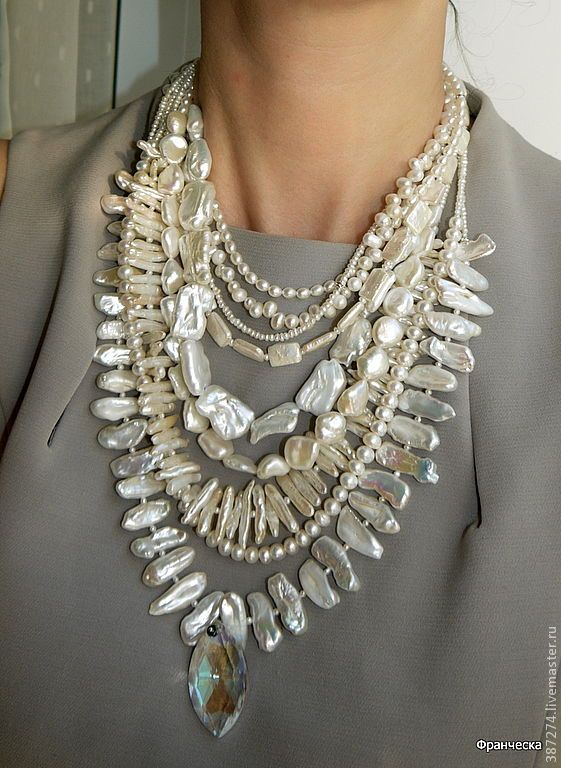 Купить Роскошный жемчуг - колье жемчуг, белый цвет, франческа, жемчуг | Colares | Pinterest | Pearls, Beads and Jewelry ideas
