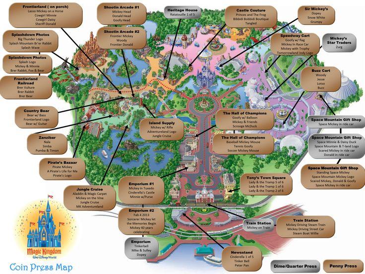 magic kingdom pressed pennies map more disney trips disney 2016 disney ...