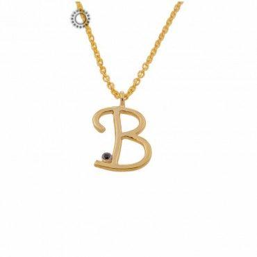 Κολιέ με αρχικά ονομάτων από χρυσό με ζιργκόν - Kosmima TSALDARIS   Χρυσά κοσμήματα με μονόγραμμα στο e-shop & στο κοσμηματοπωλείο μας στο Χαλάνδρι #μονογραμμα #ζιργκον #χρυσο #κολιε