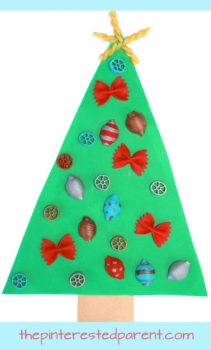 Christmas decorations ideas for kids - Painted Pasta Ornaments Make The Perfect Decoration For This Adorable Christmas Tree Craft Holiday And Toddler Craftspreschool