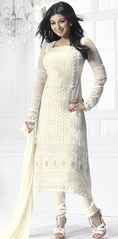 66.67 White Full Sleeve Embroidery Georgette Long Churidar Salwar ...