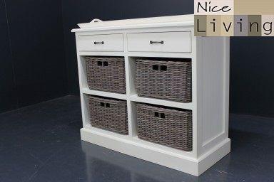 Aanbieding dressoir landelijk handgeschilderd 2x lade 4x grijze manden inclusief dienblad