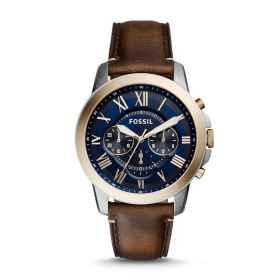 Built to outlast fleeting trends, our refined Grant is a superlative investment fit for any occasion. This timeless chronograph gets refreshed for the season with a handsome blue dial, beige topring, white hands and dark brown leather strap.*Modeled after vintage clocks, our Roman numerals are uniquely designed to provide artistic balance to the dial. In order to create a sense of depth, we also layered the sub-eyes over the numerals, which gives them the effect of being cut off.