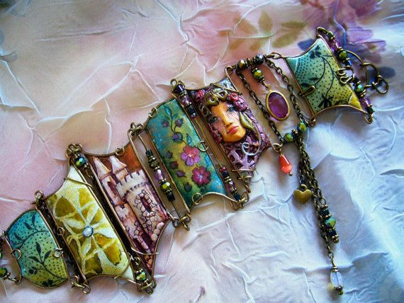 Collage Cuff - Enchanted Forest. $92.00, via Etsy.