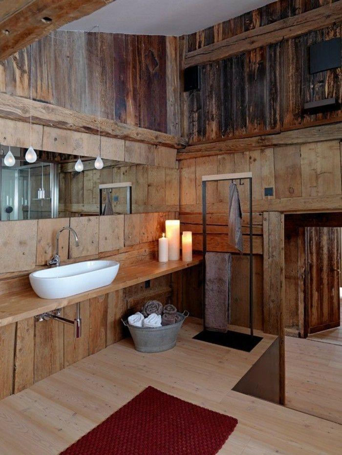 rustikale holzwaende badezimmer wandgestaltung ideen wandverkleidung aus holz