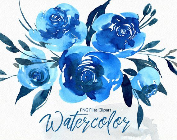 Watercolor Flowers Clipart Bright Blue Navy Roses Floral Clip Etsy Flower Drawing Watercolor Flowers Blue Roses