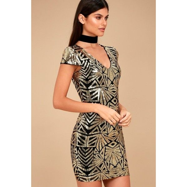 Lulus  Elegant Affair Black and Gold Sequin Print Bodycon Dress ($59) ❤ liked on Polyvore featuring dresses, gold, black and gold bodycon dress, see through dress, sheer bodycon dress, black and gold dresses and sheer mesh dress