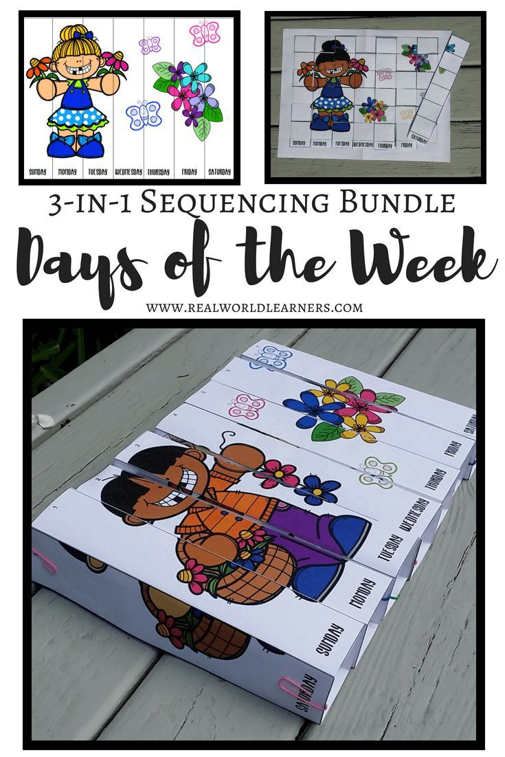 Days Of The Week 3 In 1 Sequencing Activities R E A L World Learners Preschool Activities Sequencing Activities Activities