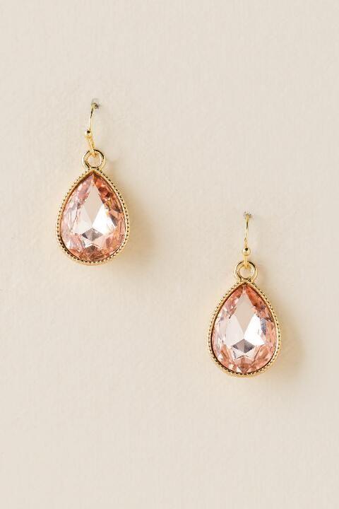 Alexis Glass Teardrop Earring- Peach