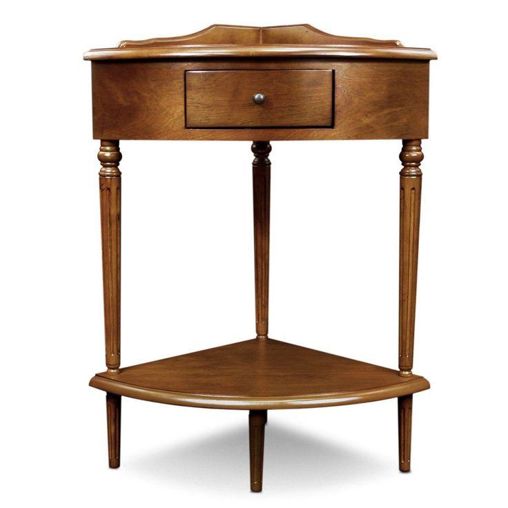 Vintage Corner Accent Table Entryway Solid Wood Furniture 1 Drawer Bottom Shelf | eBay