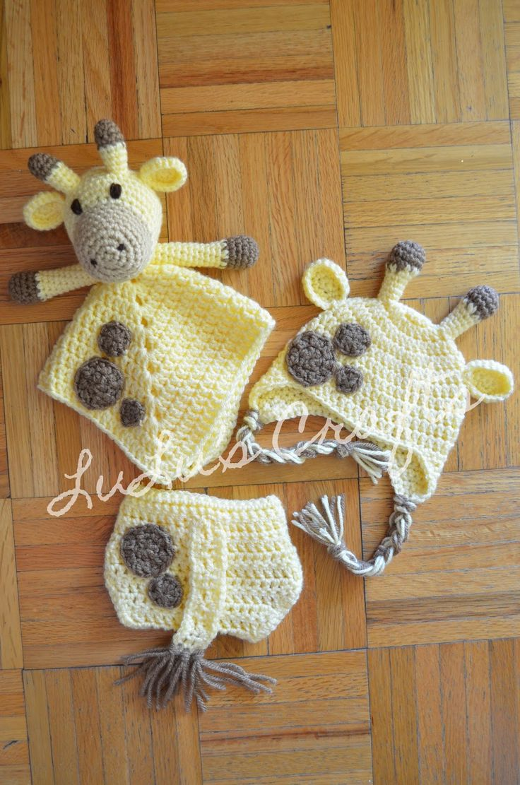 Free Giraffe Lovey, Hat, and Diaper Cover Pattern by LuLu's Crafts