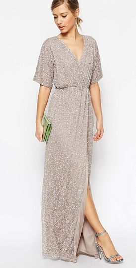 Kimono sequin maxi dress, ASOS