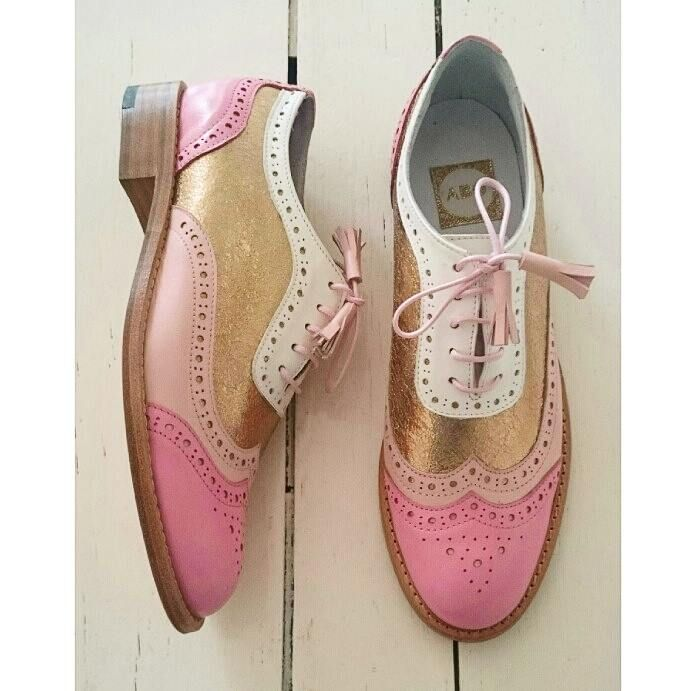 Pink & Gold Brogues | Shoes