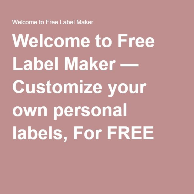 Best 25+ Label maker online ideas on Pinterest Best label maker - free shipping label maker