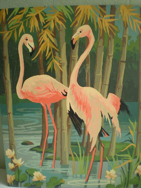 Vintage Paint By Number Pink Flamingos. I am seriously getting sucked into these flamingo paintings.  Must have one!