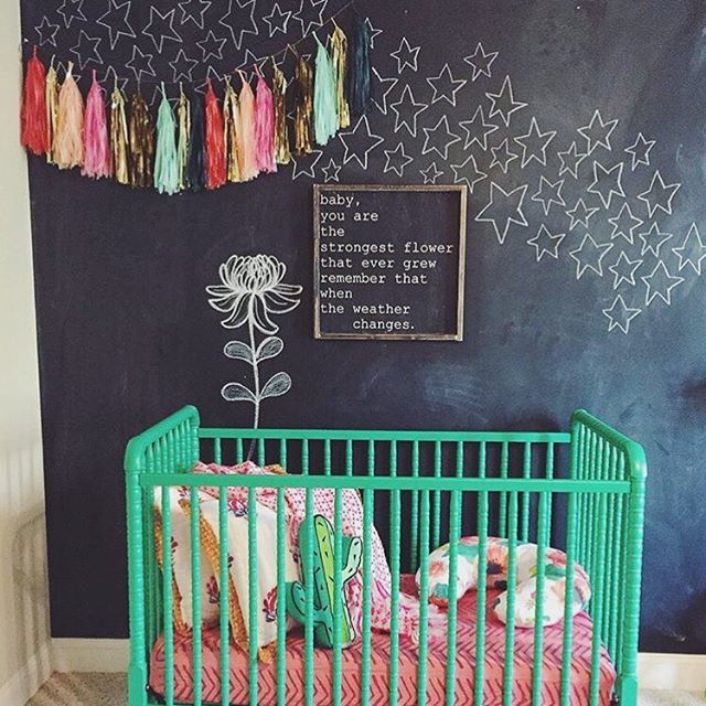 Itu0027s Amazing What You Can Do With A Chalkboard Wall! And This Green Crib Is