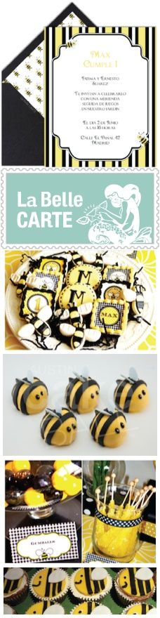 Bee Party for Children - Ideas, inspiration, cupcakes, cake pops and virtual bee invitations - Ideas para fiesta para nios de abeja e invitaciones virtuales - La Belle Carte