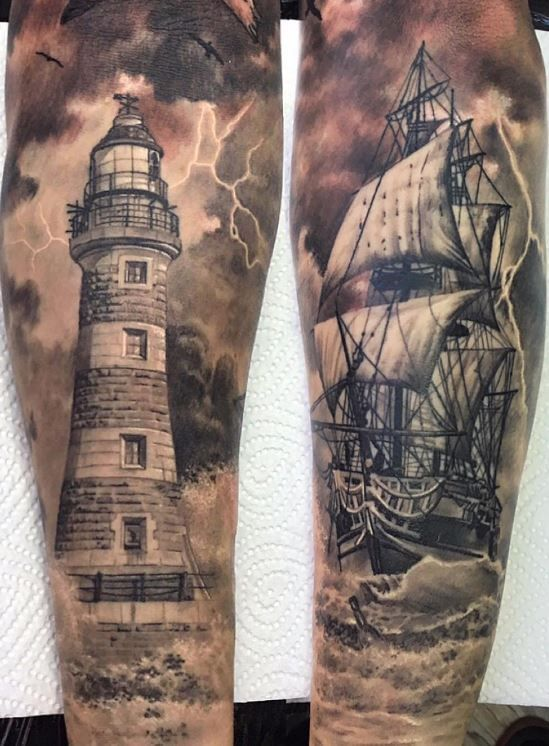 Awesome Nautical Sleeve Tattoos