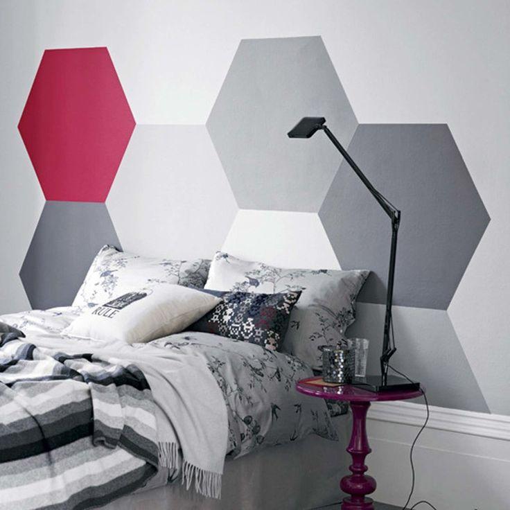 Enhancing Your Bedroom Look Easily with Amazing Headboards Ideas : Modern  Head Board Multi Color Hexagonal Vinyl Headboard