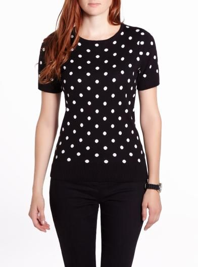 Short Sleeve Polka Dot Sweater - 25.19