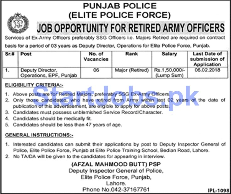 Elite Force Punjab Police Jobs 2018 For Deputy Director Operations