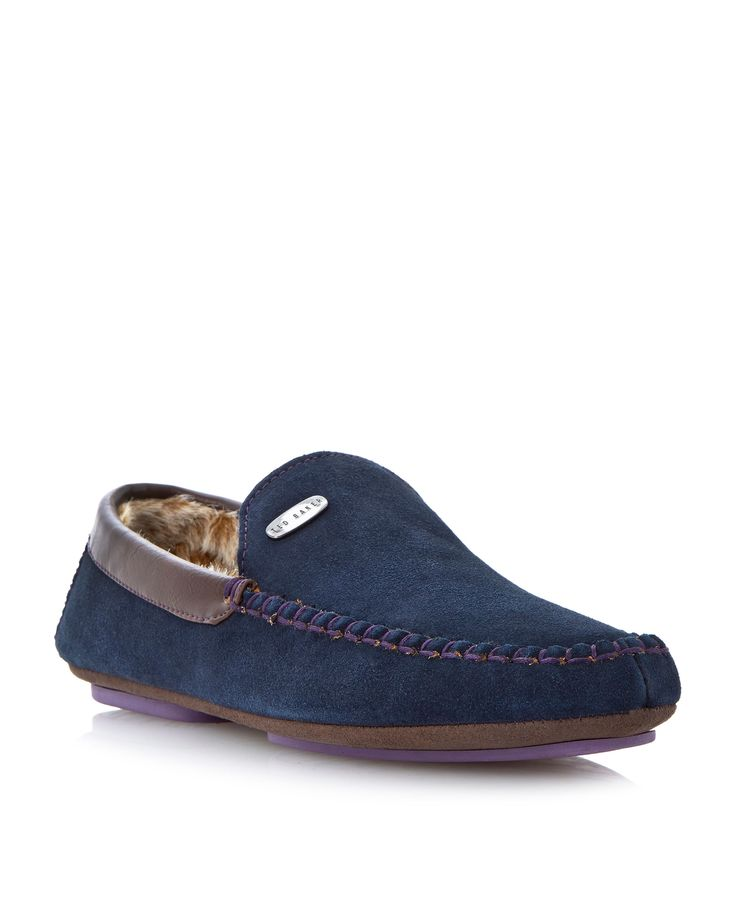 Ted Baker Ruffas moccasin slippers, Navy