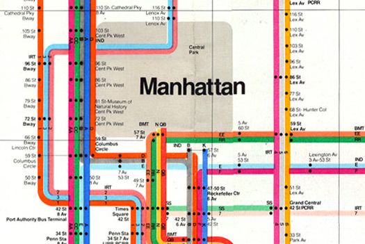 1972 nyc subway map [detail] | massimo vignelli
