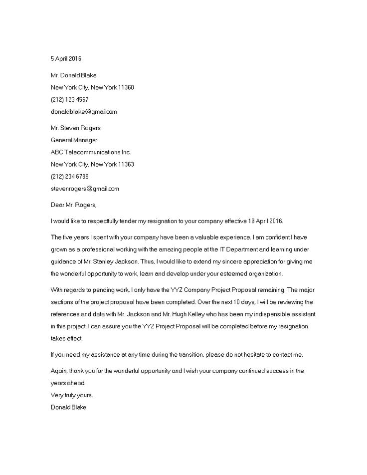 Standard 2 Week Resignation Letter How to make a