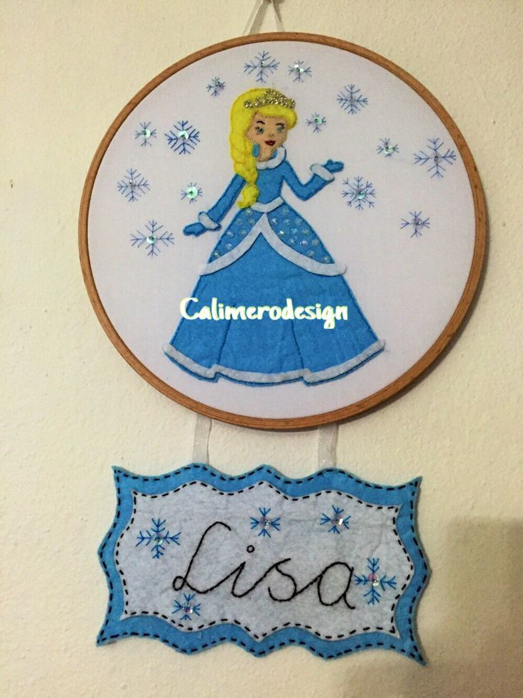 Princess Elsa Inspired Wall Letter, Princess Hoop Art, Personalized Nursery Decor, Princess Wall Decor, Princess Door Hanger by Calimerodesign on Etsy https://www.etsy.com/listing/260781390/princess-elsa-inspired-wall-letter