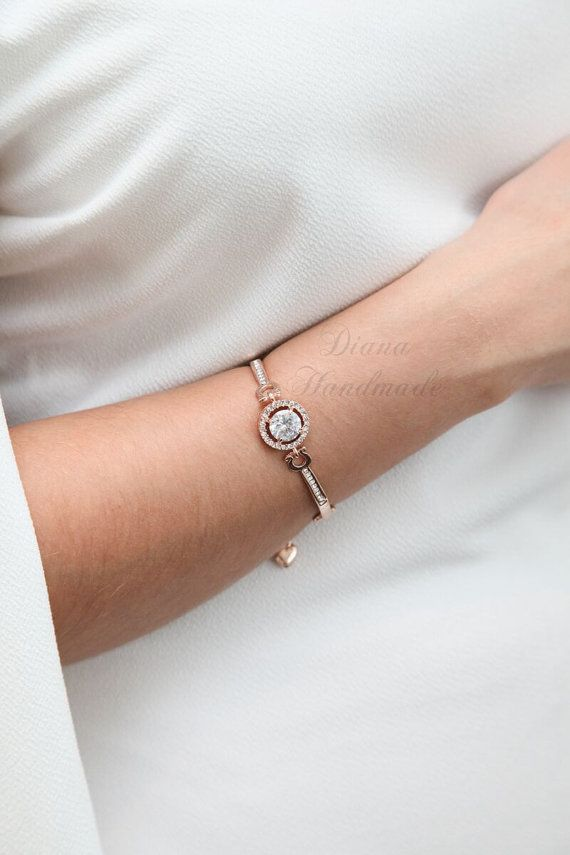 Rose gold Bridesmaids EarringsCrystal Stud by thefabbridaljewelry