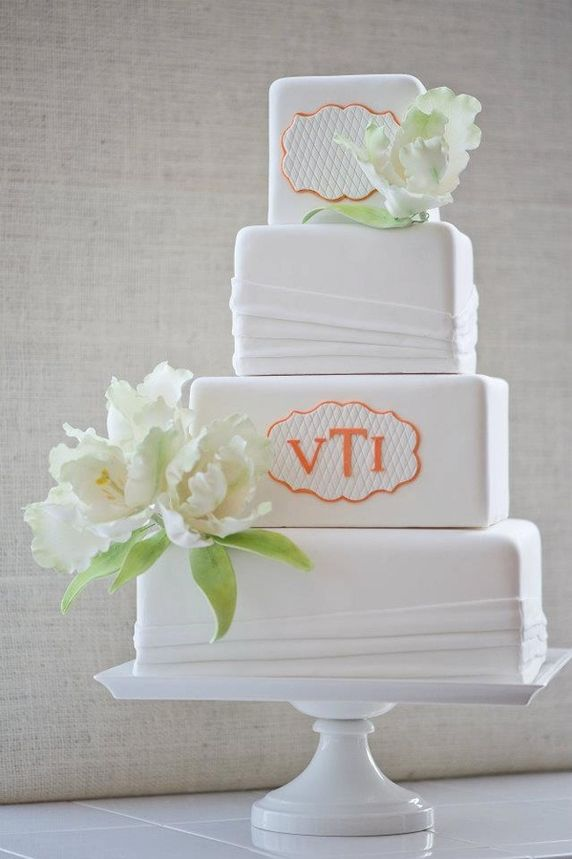 Beautiful Cake Pictures: Modern Square Monogrammed Wedding Cake: Cakes with Flowers, Wedding Cakes, White Cakes
