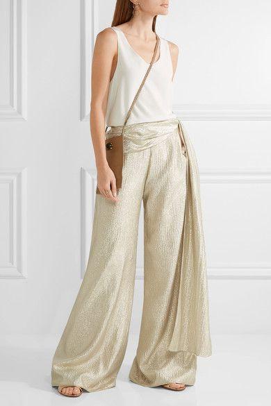 Oscar de la Renta - Silk-blend Lamé Wide-leg Pants - Gold - US12
