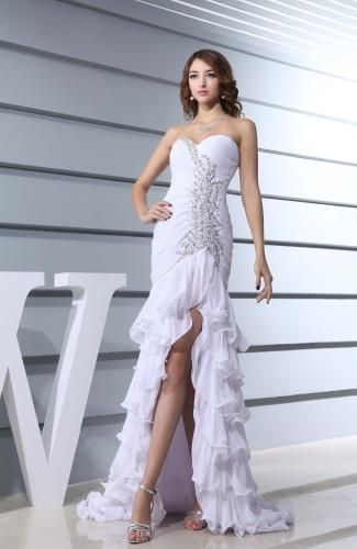 Chiffon Sweetheart Romantic Bridal Gowns - Order Link: http://www.theweddingdresses.com/chiffon-sweetheart-romantic-bridal-gowns-twdn6352.html - Embellishments: Paillette , Sequin , Ruching; Length: Short; Fabric: Chiffon; Waist: Dropped - Price: 157.79USD