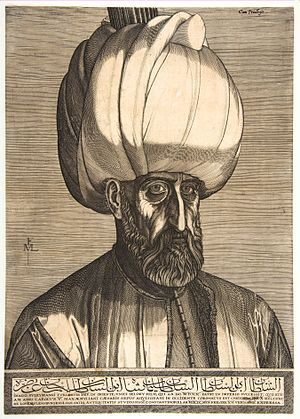"""""""Sultan Suleiman the Magnificent"""" allegedly seen by Lorck in Constantinople on February 15, 1559, engraving - Melchior Lorck (1526/27-1583) Copenhagen, Statens Museum for Kunst"""