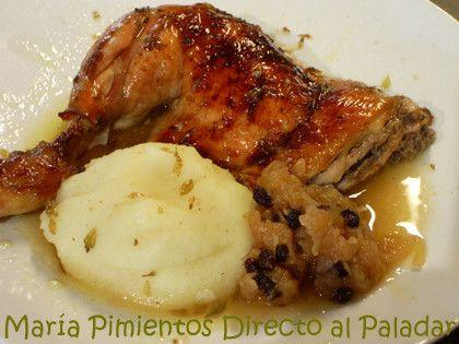 Pollo a la sidra con salsa de manzana