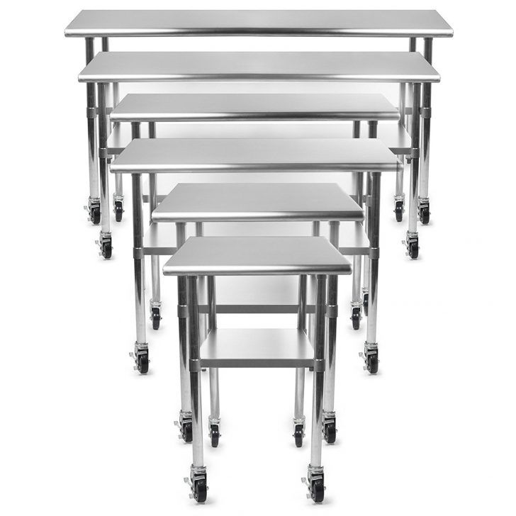 Kitchen: Gridmann Stainless Steel Commercial Kitchen Prep And Work Table  With 4 Casters And Also Modern High Quality All Stainless Steel Benham Prep  Table ... Part 64