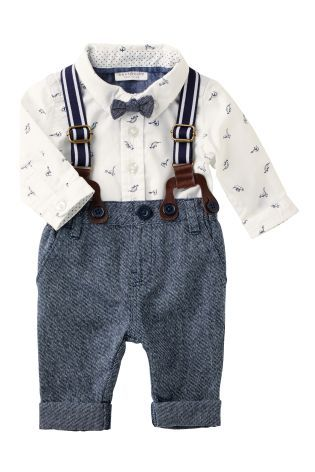 Buy Navy And White Dinosaur Print Shirt-Body, Bow Tie, Braces And Trousers Set (0-18mths) from the Next UK online shop
