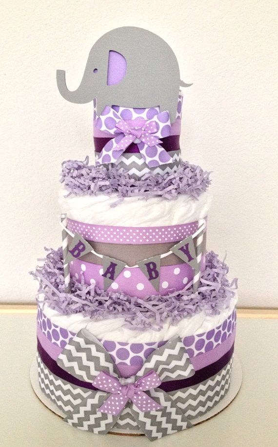Chevron Gray and Purple Lavender Lil' Peanut Elephant Diaper Cake Baby Shower Centerpiece