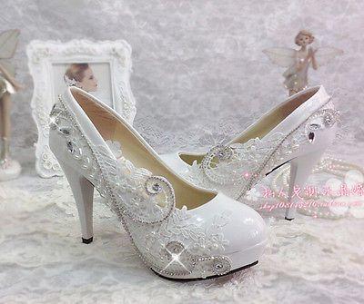 Para mujer Tacones Altos Plataformas de boda Encaje Estrás De Novia Zapatos De Salón Talla Grande
