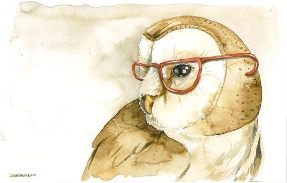 Wise ~ poordogfarm @ etsy: Bespectacled Owl, Wise On The Wall, Owl Glasses, Things Owl, Art, Wall Things, Owls