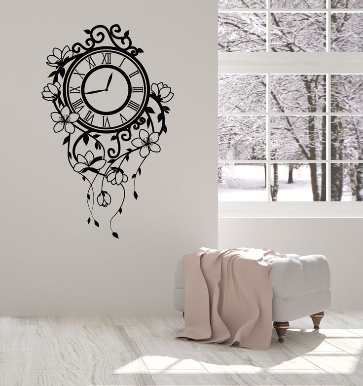 Vinyl Wall Decal Floral Clock Beautiful Home Room Decorating Art Stickers Mural (ig5147)