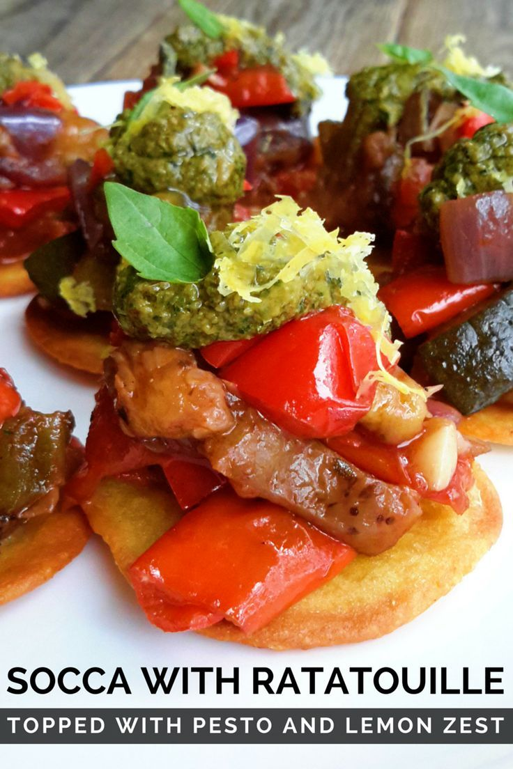 A great vegan appetizer or party finger food: socca with ratatouille and pesto. All the flavours of fresh summer vegetables on a crispy socca cake. Want to know what socca is? Read on...