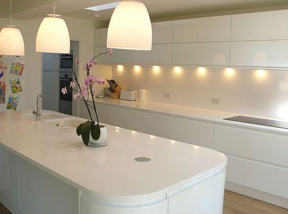 white matt handleless kitchen - Google Search