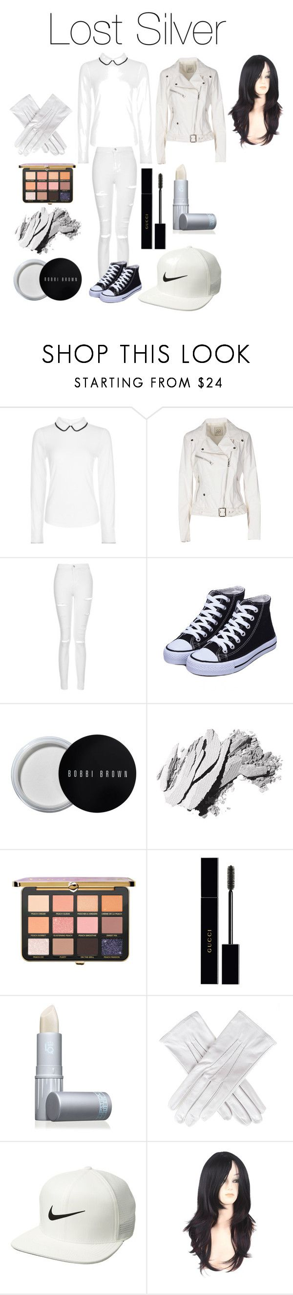"""Lost Silver (Creepypasta)"" by tori-camilleri on Polyvore featuring Hobbs, Jijil, Topshop, Bobbi Brown Cosmetics, Gucci, Lipstick Queen, Black, NIKE and WithChic"