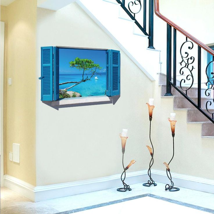 3d wall stickers Art Vinyl Fake Window Wall Decals Removable